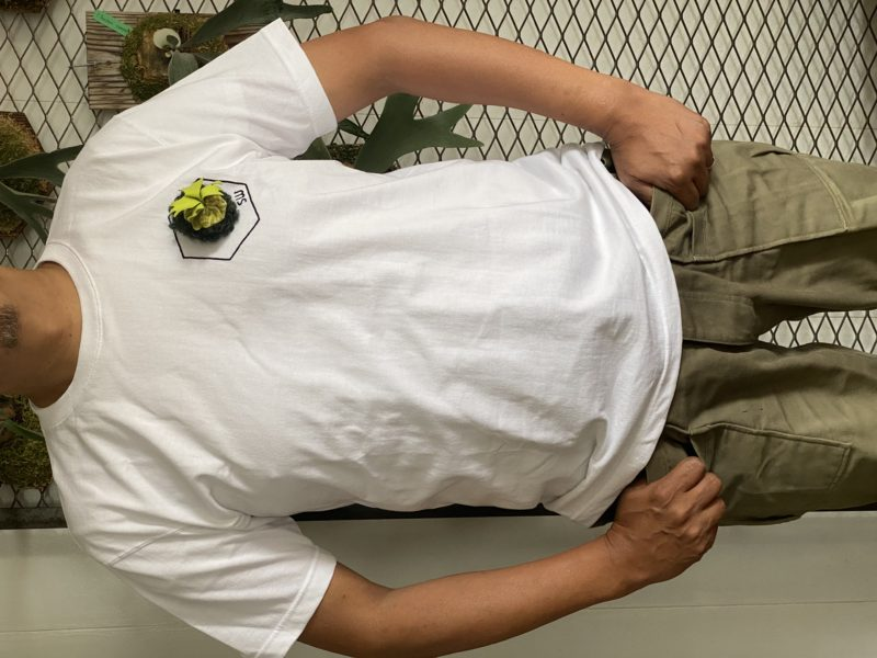リドレイブローチ付き六角形ロゴTシャツ
